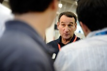 Head coach Mike Krzyzewski of the USA Men's National Team speaks to the media before practice at the Mendenhall Center on Saturday, July 8, 2012 in Las Vegas. (Photo by David Becker)