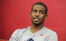 Chris Paul of the USA Men's National Team speaks to the media before practice at the Mendenhall Center on Saturday, July 8, 2012 in Las Vegas. (Photo by David Becker)