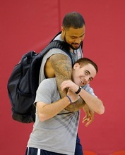Tyson Chandler of the USA Men's National Team horse plays with a team trainer before practice at the Mendenhall Center on Saturday, July 8, 2012 in Las Vegas. (Photo by David Becker)