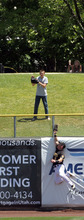 Francisco Kjolseth  |  The Salt Lake Tribune Kole Calhoun hits the wall as he tries for a home run hit as the Salt Lake Bees take on the Tacoma Rainiers on Wednesday, June 13, 2012, at Spring Mobile Ballpark.