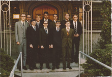 A young Rob Bishop, during his Mormon mission in Germany, is on the front row, second from the right. Courtesy image