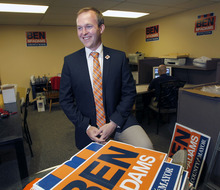 Al Hartmann  |  The Salt Lake Tribune   Democrat candidate for Salt Lake County mayor Ben McAdams works in his campaign office at 1063 E. 3300 South. He has been sitting on the sidelines, waiting to find out whether he will be running against either Mark Crockett or Mike Winder.
