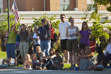 Chris Detrick  |  The Salt Lake Tribune Spectators watch the Days of '47 All-Horse Parade Tuesday July 10, 2012.