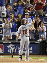 National League's Chipper Jones, of the Atlanta Braves, waves to the crowds during the sixth inning of the MLB All-Star baseball game against the American League, Tuesday, July 10, 2012, in Kansas City, Mo. (AP Photo/Charlie Neibergall)