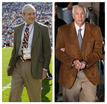 In this photo combo, at left, in an Oct. 8, 2011 file photo, Penn State president Graham Spanier walks on the field before an NCAA college football game in State College, Pa. At right, former Penn State University assistant football coach Jerry Sandusky leaves the Centre County Courthouse in custody after being found guilty of multiple charges of child sexual abuse in Bellefonte, Pa., Friday, June 22, 2012. A potentially explosive report into whether football coach Joe Paterno and other top Penn State officials took steps to conceal that Sandusky was a child molester will be released Thursday  -- online for all to see, officials said Tuesday, July 10, 2012. (AP Photo/Gene J. Puskar, File)