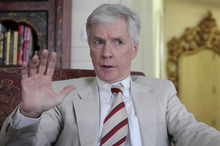 Ryan Crocker, the outgoing U. S. ambassador in Afghanistan, gestures an interview with the Associated Press in Kabul, Afghanistan, Thursday,  July 12, 2012.  Fears that the exit of most foreign troops in 2014 portends another Afghan civil war or precipitous economic slide are ``unlikely scenarios,'' Ryan Crocker, the outgoing U. S. ambassador in Kabul said Thursday. (AP Photo/Musadeq Sadeq)