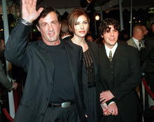 FILE - In this Dec. 5, 1996 file photo, Sylvester Stallone, left, star of the film