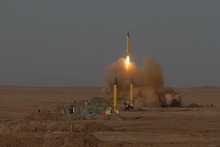 The Associated Press/Iranian Fars News Agency A surface-to-surface missile is launched July 3, 2012, during the Iranian Revolutionary Guards maneuver in an undisclosed location in Iran. War games showed missiles with improved accuracy and firing capabilities, Iranian media reports said Friday, July 13, 2012.