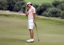Kim Raff | The Salt Lake Tribune Alberto Sanchez reacts to missing a putt on the green of hole 8 during Day 4 of the U.S. Amateur Public Links golf tournament at Soldier Hollow Golf Club in Midway, Utah on July 12, 2012.
