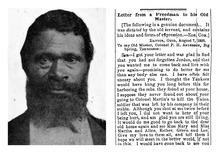 This combination picture shows an undated image of Jordon Anderson, left, and the beginning of a letter dated Aug. 7, 1865 from Jordan Anderson to his former master, Patrick H. Anderson, published in the Cincinnati Commercial newspaper. Jordon Anderson was a former slave who was freed from a Tennessee plantation by Union troops in 1864 and spent his remaining 40 years in Ohio. He lived quietly and likely would have been forgotten, if not for the remarkable letter published shortly after the Civil War. (AP Photo)