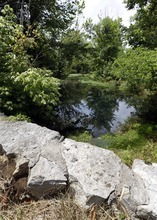 In this Monday, July 9, 2012 photo, a stone wall built during the slavery era stands next to a spring in Lebanon, Tenn. The land was once part of a plantation where Jordan Anderson was a slave to Col. Patrick Henry Anderson. The former slave who was freed by Union troops in 1864, spent his remaining 40 years in Ohio. He lived quietly and likely would have been forgotten, if not for a remarkable letter to his former master published in a Cincinnati newspaper shortly after the Civil War. (AP Photo/Mark Humphrey)