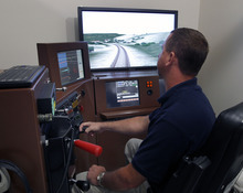 Al Hartmann  |  The Salt Lake Tribune   Union Pacific instructor Jerome Czyzewki operates a train simulator at Union Pacific's training facility at Salt Lake Community College.  It develops computer programs and trains conductors on real time train simulators in  dealing with anything that could happen from the cab of a train. Union Pacific is celebrating its 150th birthday this month. Union Pacific has strong ties to Utah with 1,400 employees working in the state.
