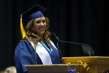 Chris Detrick  |  The Salt Lake Tribune Valerie Velez-Hall speaks during Western Governors University's commencement at the Huntsman Center at the University of Utah Saturday July 14, 2012.