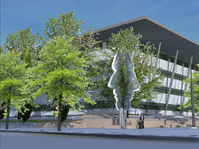 An artist's conceptual rendering of an untitled stainless steel sculpture by Buster Simpson, Seattle. It's one of four artworks commissioned for Salt Lake City's new Public Safety Building. (concept art by Buster Simpson)