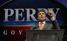 FILE - In this June 7, 2012 photo, Texas Gov. Rick Perry speaks during the Texas Republican Convention in Fort Worth, Texas.  For Perry, saying