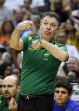 Brazil coach Ruben Magnano reacts during the first half of an Olympic men's exhibition basketball game against Team USA, Monday, July 16, 2012, in Washington. Team USA won 80-69. (AP Photo/Alex Brandon)