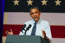 President Barack Obama speaks at a fundraising event in Austin, Texas on Tuesday, July 17, 2012. (AP Photo/Jack Plunkett)
