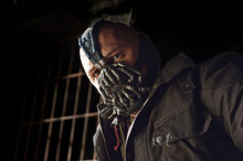 This undated film image released by Warner Bros. Pictures shows Tom Hardy as Bane in a scene from the action thriller