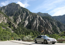 Steve Griffin | The Salt Lake Tribune Cars make their way up Big Cottonwood Canyon near Storm Mountain on Wednesday, July 18, 2012.