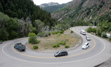 Steve Griffin | The Salt Lake Tribune Cars make their way around the