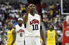 Team USA's Kobe Bryant (10) reacts after a play during the first half of an Olympic men's exhibition basketball game against Brazil, Monday, July 16, 2012, in Washington. Team USA won 80-69. (AP Photo/Alex Brandon)