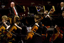 Kim Raff | The Salt Lake Tribune The Orchestra at Temple Square performs during the Pioneer Day concert