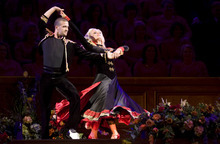 Kim Raff | The Salt Lake Tribune Katherine Jenkins dances with her Dancing with the Stars partner Mark Ballas during the Pioneer Day concert