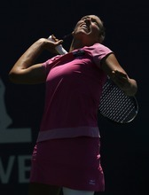 Yanina Wickmayer, of Belgium, serves to Coco Vandeweghe, of the United States, during a semifinal of the Bank of the West tennis tournament on Saturday, July 14, 2012 in Stanford, Calif. (AP Photo/Marcio Jose Sanchez)