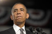 In this July 20, 2012, photo, President Barack Obama pauses as he speaks about the Aurora, Colo., shooting at an campaign event at the Harborside Event Center in Ft. Myers, Fla. Gun control advocates sputter at their own impotence. The National Rifle Association is politically ascendant. Obama pledges to safeguard the Second Amendment in its first official response to the deaths of at least 12 innocents in the mass shooting at the new Batman movie screening. Once, every highly publicized outbreak of gun violence produced strong calls from Democrats and a few Republicans for tougher controls on firearms. Now those pleas are muted, a political paradox that's grown more pronounced in an era scarred by Columbine, Virginia Tech, the wounding of a congresswoman and now the shootings in a suburban movie theater where carnage is expected on-screen only. (AP Photo/Susan Walsh)