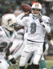 Miami Dolphins quarterback John Beck passes against the Philadelphia Eagles in the first  half of their NFL football game Sunday, Nov.18, 2007 in Philadelphia. It was Beck's first NFL start as the Eagles won, 17-7. (AP Photo/Rusty Kennedy)