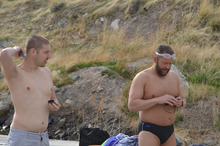 Gordon Gridley, right, prepares to train for his open water swim across the English Channel. Next month, the Salt Lake native will attempt the feat. Courtesy Jim Hubbard