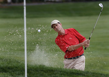 Scott Sommerdorf     The Salt Lake Tribune              Salt Lake Country Club member Jon Wright pitches out of a sand trap on #3 as he won the Utah State Amateur title, Sunday, July 22, 2012 on his home course 3 and 2, over Christian Jensen of St. George.