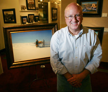 Steve Griffin | The Salt Lake Tribune   Al Rounds with his painting