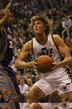Chris Detrick  |  The Salt Lake Tribune  Utah Jazz small forward Andrei Kirilenko #47 is guarded by Phoenix Suns small forward Grant Hill #33 during the first half of the game Thursday October 28, 2010.  Phoenix is winning the game 58-42.