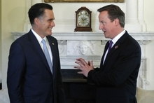 Republican presidential candidate, former Massachusetts Gov. Mitt Romney meets with British Prime Minister David Cameron at 10 Downing Street in London, Thursday, July 26, 2012. (AP Photo/Charles Dharapak)