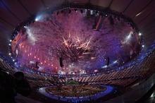 Fireworks illuminate  the stadium during opening ceremonies  Friday, July 27 2012 at Olympic Stadium. John Leyba, The Denver Post