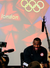 United States basketball player Lebron James speaks to reporters during a news conference at the Olympic Park, Friday, July 27, 2012, in London. The 2012 Summer Olympics begin with opening ceremonies on Friday.  (AP Photo/Stephen Pond, PA)