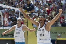 United States' Jake Gibb, left, and Sean Rosenthal, right, celebrate their victory after the final game  against Brazil's Alison, and Emanuel, at the Beachvolley Worldtour in Gstaad, Switzerland, Sunday, July 8, 2012. (AP Photo/Keystone/Peter Schneider)
