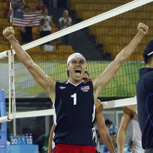 USA's Jake Gibb, a 32-year-old Bountiful native, celebrates after winning the match against Julius Brink and Christoph Dieckmann, of Germany, at the Chaoyang Park Beach Volleyball Ground in Beijing, Tuesday, August 12, 2008.  Gibb and Sean Rosenthal won the match 2-0 (21-15, 21-13).  Photo by Chris Detrick/The Salt Lake Tribune