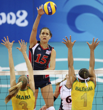 Utah native and Highland High grad Logan Tom is gearing up for her fourth Olympics next month in London as a member of the U.S. Women's Volleyball Team. (AP Photo/Koji Sasahara)