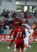 Kim Raff | The Salt Lake Tribune Real Salt Lake player (left) Kwame Watson-Siriboe and Vancouver player Barry Robson battle for a head ball at Rio Tinto Stadium in Sandy, Utah on July 27, 2012.