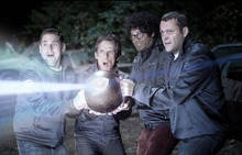 This film image released by 20th Century Fox shows, from left, Jonah Hill, Ben Stiller, Richard Ayoade and Vince Vaughn in a scene from