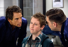 This film image released by 20th Century Fox shows, from left, Ben Stiller, Johnny Pemberton and Jonah Hill in a scene from