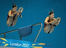 Canada's Meaghan Benfeito, left, and Roseline Filion perform a dive during a training session at the Aquatics Centre at the Olympic Park ahead of the 2012 Summer Olympics, Friday, July 27, 2012. (AP Photo/The Canadian Press, Frank Gunn)