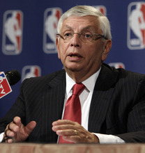 FILE - In this April 13, 2012, file photo, NBA Commissioner David Stern answers a question at a news conference after the NBA Board of Governors meetings in New York. Stern met with members of the media, Thursday, July 19, after the Board of Governors held their annual summer meeting to announce that the league is looking to add possibly $100 million in revenue by permitting small advertising patches on uniforms starting in the 2013-14 season. (AP Photo/Richard Drew, File)