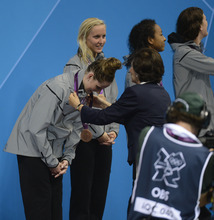 Missy Franklin receives her  Bronze Medal in the Women's 4 x 100m Freestyle Relay during the evening session of the swimming competition Saturday, July 28, 2012 at the Aquatics Centre.  John Leyba, The Denver Post