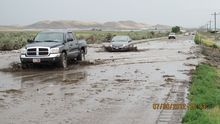 This photo tweeted by the Sanpete County Sheriff's Office shows flooding on State Road 132 on July 30, 2012.