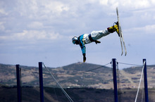 Kim Raff  |  The Salt Lake Tribune Ski jumpers practice during a London Summer Olympics celebration at Utah Olympic Park in Park City, Utah on July 28, 2012.