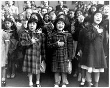 Topaz children saying the Pledge of Allegiance.  Courtesy Topaz Collection, Utah State Historical Society.