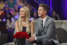 This July 22, 2012 photo released by ABC shows Emily Maynard, left, and Jef Holm on